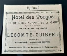 EPINAL 88 HOTEL DES VOSGES CAFE RESTAURANT DE LA GARE TENU PAR LECOMTE GUIBERT ELECTRICITE CHAUFFAGE PUBLICITE 1905 - Werbung