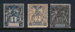 New Caledonia 1903 Navigation & Commerce 1,2,10c Opt MLH - Ungebraucht