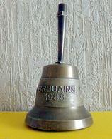 """Clochette De Table En Bronze Doré """" BROUAINS """" 1988 état Impeccable - - Bells"""