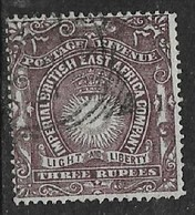 Imperial British East Africa Co., 1890 - 5, FOURNIER FORGERY, 3 Rupee, Used, Spurious Mombasa Sq.c.d.s. - Kenya, Uganda & Tanganyika