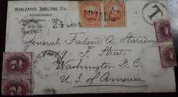 O) 1884 PERU, CANCELLATION T - NUMERAL 2, COAT OF ARMS 5c, FROM HUALGAYOC - SMELTING Co -ARASCORGUE TO USA - Peru