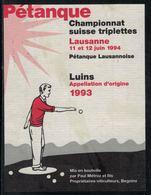 Etiquette De Vin // Luins, Pétanque, Championnat Suisse De Triplettes Lausanne 1994 - Etiquettes