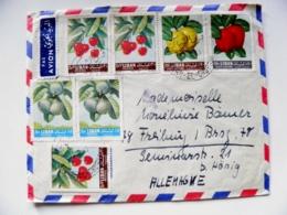 Cover Liban Lebanon To Germany Plants Fruits 8 Post Stamps - Lebanon