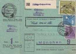 BiZone Paketkarte 1948: Gustavsburg Nach München, Wertkarte, Besonderes Formular - Zone AAS