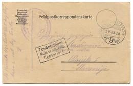 AUSTRIA HUNGARY WW1 - K.u.K. FELDPOST Nr. 9, KARLOVAČKO 26. PUČKO USTAŠKO ZAPOVJ. Year 1915. TRAVELED TO OSIJEK CROATIA - WW1