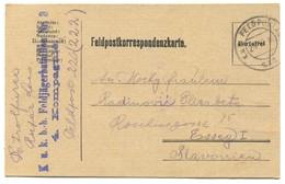 AUSTRIA HUNGARY WW1 - K.u.K. FELDPOST 222. B. - H. FELDJAGER BATAILLON, TRAVELED TO OSIJEK CROATIA, Year 1916. - Prima Guerra Mondiale