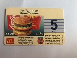 Kuwait - Mc Donalds & Coca Cola - 5 KD Prepaid Card - Koeweit