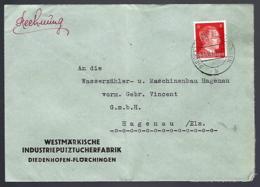 LETTRE EN PROVENANCE DE DIEDENHOFFEN - 1943 - MOSELLE - THIONVILLE - - Alsace-Lorraine