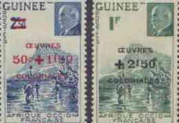 Détail De La Série Maréchal Pétain Surchargés -> Oeuvres Coloniales ** Guinée N° 185 - 186 - 1944 Maréchal Pétain, Surchargés – Œuvres Coloniales