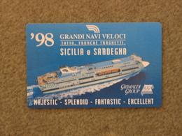 GRANDI NAVI VELOCI 1998 CALENDAR CARD, 1998 - Ferries