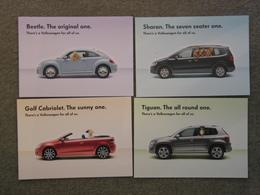 4 X VOLKSWAGEN OFFICIAL CARDS - Passenger Cars