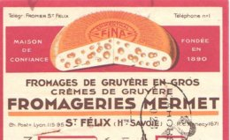 MERMET  Fromages, Crèmes De Gruyère  SAINT FELIX  74     Belle Illustration - Lettres De Change