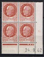 FRANCE ( COINS DATES ) Y&T N° 517  DU  24/09/1942 TIMBRES  NEUFS  SANS  TRACE  DE  CHARNIERE . - 1940-1949