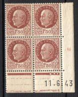 FRANCE ( COINS DATES ) Y&T N° 517  DU  11/06/1943  TIMBRES  NEUFS  SANS  TRACE  DE  CHARNIERE . - 1940-1949