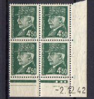 FRANCE ( COINS DATES ) Y&T N°  521B  DU  02/12/1942  TIMBRES  NEUFS  SANS  TRACE  DE  CHARNIERE . - 1940-1949