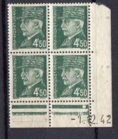 FRANCE ( COINS DATES ) Y&T N°  521B  DU  01/12/1942  TIMBRES  NEUFS  SANS  TRACE  DE  CHARNIERE . - 1940-1949