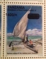 TANZANIA, 2018, MNH, BOATS, SAILBOATS OF ZANZIBAR, 1v,OVERPRINT, - Trasporti