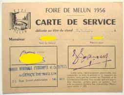FOIRE DE MELUN 1956 CARTE DE SERVICE STAND BANQUE BRED  B.R.E.D BANQUE REGIONALE D ESCOMPTE ET DE DEPOTS - Autres Collections
