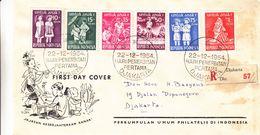 Indonesie - Lettre Recom De 1954 - Oblit Djakarta - Exp Vers Djakarta - Musiqu - Enfants - Jeux - - Indonesia