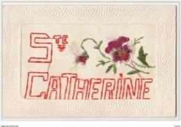 N°389 - Carte Brodée - Sainte Catherine - Pensée - Embroidered