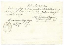DAL COMANDANTE DISTACCAMENTO CARABINIERI PONTIFICI DI FABRIANO - 7.4.1831 - POST.MOTI RIVOLUZIONARI. - Italia