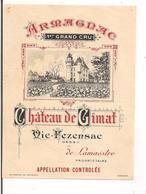 Etiquette Armagnac - 1er Grand Cru - Château De Cimat - Vic Fezensac, Gers -  Imprimeur Wetterwald - - Etiketten