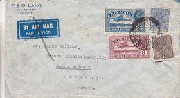 Grande Bretagne - Inde - Lettre De 1936 - Oblit Calcutta - Exp Vers Mainz A/ Rhein - Avions - - Inde (...-1947)