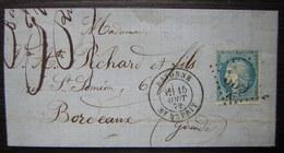 Bayonne Saint Esprit GC 359 A 1872 Lettre Pour Pichard à Bordeaux - Postmark Collection (Covers)