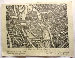 25 Cm X 33 Cm VUE ANCIENNE DE PARIS ILE DE LA CITE LE COEUR DU PARIS HENRI IV CATHEDRALE NOTRE DAME . PAPIER PARCHEMIN - Non Classés
