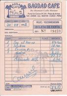 """Facture """" BAGDAD CAFE - Cuzco PEROU 2005 """" - Facturas"""
