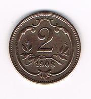 // OOSTENRIJK  2  HELLER  1908 - Autriche