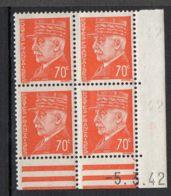 FRANCE ( COINS DATES ) Y&T N°  511  DU  05/03/1942  TIMBRES  NEUFS  SANS  TRACE  DE  CHARNIERE . - 1940-1949