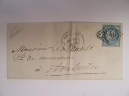 Timbre 25c Cérès YT N°60A Sur Lettre Orléans Vers Amboise - Cachet Ambulant Paris à La Rochelle - Ob. GC 2740 - 1871-1875 Ceres