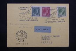 LUXEMBOURG - Carte Du 1er Vol Luxembourg / Zurich En 1948 , Affranchissement Et Oblitération Plaisants - L 36722 - Luxemburg
