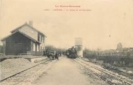CPA 31 Haute Garonne Auriac La Gare Et Le Clocher Non Circulée Train Locomotive - France