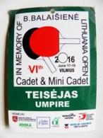 Sport Table Tennis Umpire From Lithuania 2016 - Tischtennis
