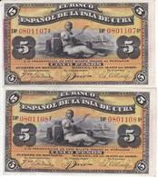 PAREJA CORRELATIVA DEL BANCO ESPAÑOL EN CUBA DE 5 PESOS DEL AÑO 1896 SIN CIRCULAR - UNCIRCULATED(BANKNOTE) - [ 1] …-1931 : Primeros Billetes (Banco De España)