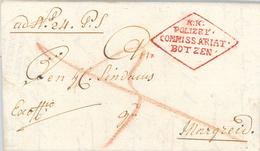 """KuK Polizey Commissariat Botzen (Polizei Bozen) Brief Nach Margreid (""""deutsches Südtirol"""" Salurner Klause) 1814 Napoleon - Österreich"""