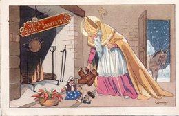 CPSM,   Saint Nicolas Devant La Cheminée Distribuant Ses Jouets, Ane Dehors à La Porte, Signée - Santa Claus