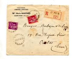 Lettre Recommandee Saint Pons Sur Paix - Marcophilie (Lettres)