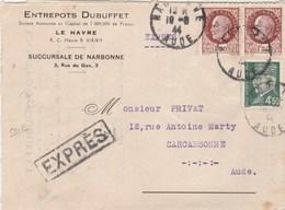 Yvert 517 X 2 + 523 Pétain Sur Lettre EXPRES Entête Dubuffet NARBONNE Aude 18/8/1944 à Carcassonne - France