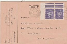 Yvert 509 X 2 Paire Coin De Feuille Pétain Sur Carte Flamme PAU Basses Pyrénées 13/2/1943 à Toulouse Haute Garonne - France