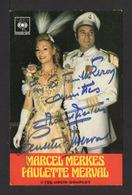 Carte Photo Discographie CBS . PAULETTE MERVAL & MARCEL MERKES . - Autogramme
