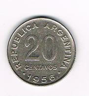 //  ARGENTINA  20  CENTAVOS  1956 - Argentine