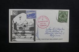 PAKISTAN - Enveloppe 1er Vol Par Ballon En 1964, Affranchissement Et Cachets Plaisants - L 36751 - Pakistan