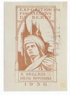 1936 - SEMEUSE - CARTE ENTIER COMMEMORATIVE TSC EXPO Du BERRY Avec MECA SPECIALE De BOURGES - Entiers Postaux