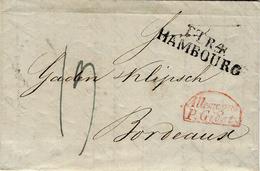 1832- Lettre D' Hamburg Pour Bordeaux -  T.T.R.4 / HAMBURG + Allemagne / P. Givet Rouge + Taxe 19 D. - Storia Postale