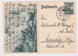 Germany-1938 Third Reich 6 +4 Pf GreenFishermen Winter Help PS Postcard H&G 251 Werdau Cover - Storia Postale