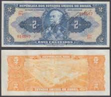 Brazil 2 Cruzeiros 1944 (VF++) Condition Banknote KM #133a - Brazil