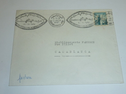 LETTRE OBLITERATION MECANIQUE RARE CASABLANCA 1957 - GRAND PRIX INTERNATIONAL DU MAROC - AFRIQUE MAROC (AE) - Marokko (1956-...)